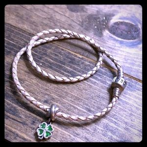 Pandora double braided leather charm bracelet